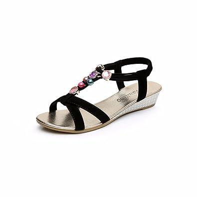 Ouneed® NEU Sommer Böhmen süße wulstige Sandalen Indoor Outdoor Strand Schuhe Flip Flops Damen Erwachsene Zehentrenner 2016 (37, schwarz)