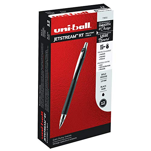 uni-ball Jetstream RT Ballpoint Pens, Bold Point (1.0mm), Black, 12 Count