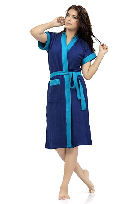 Buy SWEETNIGHT Terry Cotton Women\'s Dressing Gown and Kimono (Blue ...