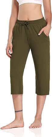 DIBAOLONG Womens Yoga Capris Pants Loose Drawstring Comfy Lounge Workout Sweatpants with Pockets