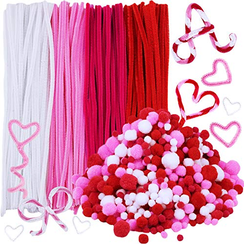 720 Pieces Valentine Craft Chenille Stem Pipe Cleaners Set, Including 120 Pieces Pipe Cleaners, 4 Size Pom Poms for Craft DIY Art Supplies