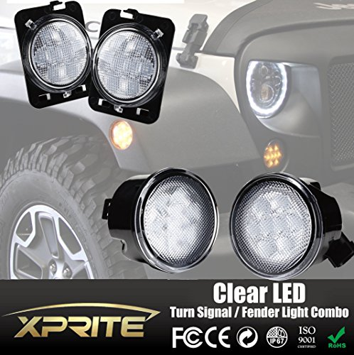 [Xprite Clear Lens Yellow LED Front Replacement Turn Signal Light & Fender Side Marker Light Assembly for 2007-2017 Jeep Wrangler JK JKU] (Clear Signal Lenses)