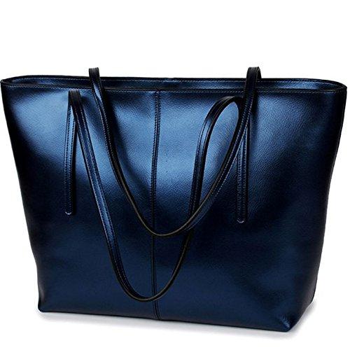 SANSJI Color puro para mujer en cuero genuine Bolsos de cuero suaves de las mujeres Bolsos ocasionales del hombro del totalizador de la manija Azul