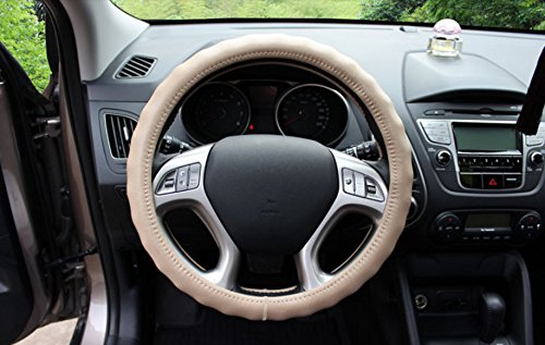 Beige Color Best Quality Genuine Leather Car Steering Wheel Covers 15