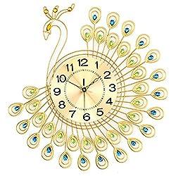 Meiyiu European Modern Creative Bracket Clock Sitting Room Bedroom Adornment Peacock Premium Wall Clock Gold