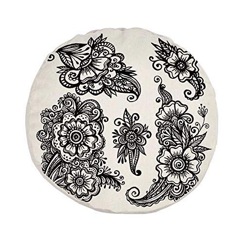 Henna Stylish Round Throw Pillow,Hand Drawn Style Vintage Mehndi Compositions Blossoming Flowers Retro Fun Design Decorative for Bedroom Living Room,Pillow Case: 17.7