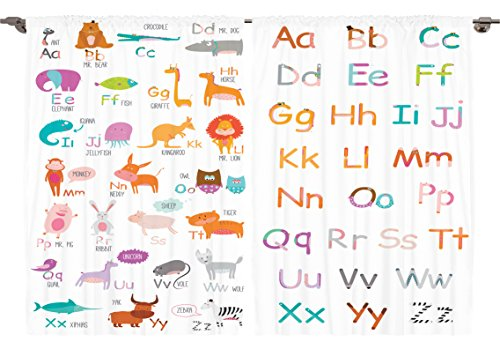 (Ambesonne Girls Boys Kids Baby Room Educational Decor Collection, Colorful Alphabet Zoo Letters Learn to Read Mr.Bear Design, Window Treatments for Kids Bedroom Curtain 2 Panels Set, 108X63 Inches)