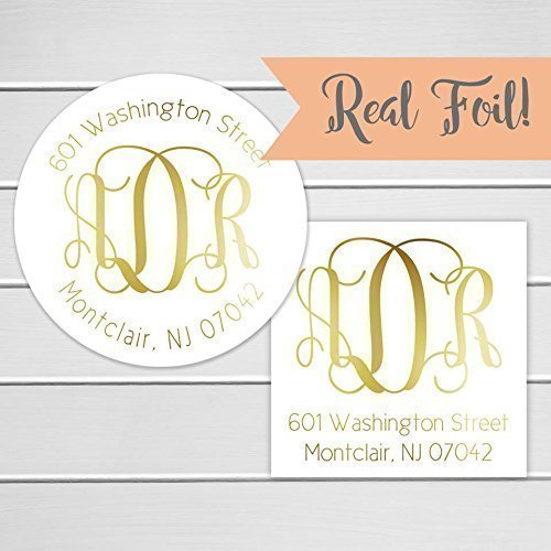 amazon com monogram wedding invitation return address label gold
