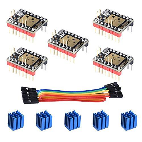 BIGTREETECH 3D Printer Part Stepstick Mute TMC2209 V1.2 Stepper Motor Driver with Heatsink for SKR V1.3 MKS GEN L Ramps 1.4/1.5/1.6 3D Printer Control Board(Pack of 5pcs) (UART Mode)