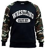 Interstate Apparel Men's Wrestling Athletic Dept. Black/Camo Raglan Baseball Sweatshirt X-Large Black