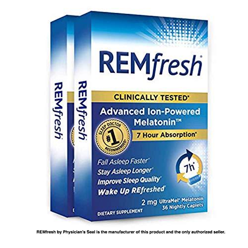 REMfresh 2mg Advanced Melatonin Sleep Aid Supplement, (72 Caplets) | Drug-Free, Sleeping Pills to Support Restful, Natural Sleep | #1 Doctor Recommended | Pharmaceutical-Grade, Ultrapure Melatonin ()