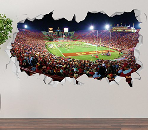 Los Angeles Chargers Stubhub Center Wall Decal Smashed 3D Sticker Vinyl Decor Mural Nfl   Broken Wall   3D Designs   Op256  Small  Wide 22  X 12  Height