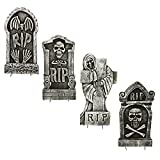 """Halloween Haunters 16.5"""" Scary Graveyard Reaper RIP Foam Tombstone Prop Decoration (Set of 4) - Realistic Skull Grave Markers"""