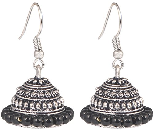 d Silver Plated Handmade Black Beaded Jhumkas Indian Earrings Jewelry for Girls and Women ()