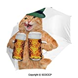 SCOCICI Custom Cool Cat with Hat and Beer Mugs Bavarian German Drink Festival Tradition Funny Humorous Automatic Open Close Water-Resistant Travel Folding Umbrella with Sun Protection