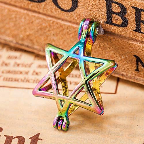 5X Multicolor Star Of David Pearl Cage Locket Pendant Fragrance Oil Diffuser