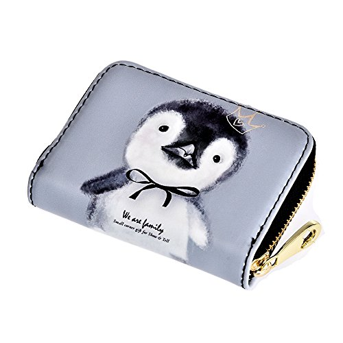 Card Wallet Women's PU Cute Pattern Zipper Small Purse Credit Card Holder(Penguin)