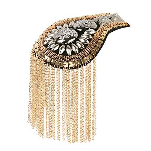 IEFIEL 2Pcs Halloween Blazer Epaulet Tassel Link Chain Jacket Boards Badge Shoulder Brooch Gold One Size ()