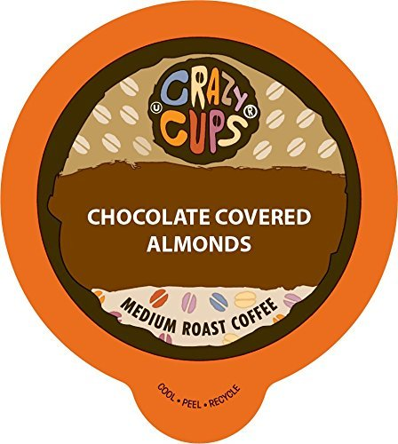 Crazy Cups Flavored Hot or Iced Coffee, for the Keurig K Cups Coffee 2.0 Brewers, Chocolate Covered Almonds, 22 Count