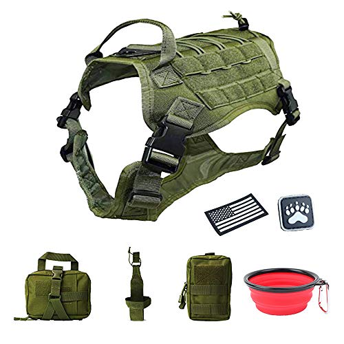 Girth Ring Detachable (Petsidea Tactical Dog Molle Harness Vest K9 Hunting Training Vest Kits with Collapsible Water Bowl and Detachable Pouches (Army Green, Large))