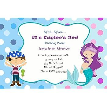 Amazon 30 Invitations Mermaid Pirate Birthday Personalized