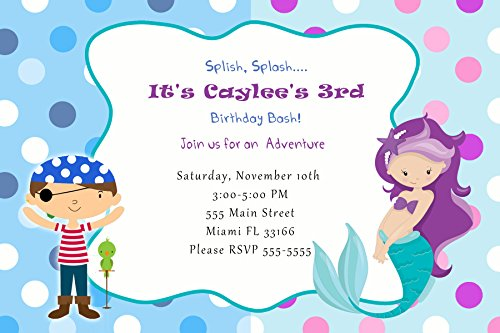 30 Invitations Pirate Mermaid Girl Birthday Personalized Cards Photo Paper