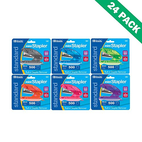 Mini Stapler, Office Standard Color Stapler Standup with 500ct Staples-Set of 24 by BAZIC-PRODUCTS