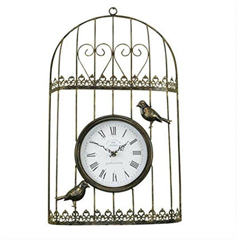 reloj, Xiaolang y relojes creativos, Reloj Birdcage de la vendimia, reloj de pared de silencio, Las aves de la vivienda...