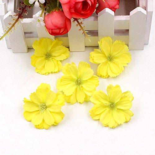 Artificial Flower 50pcs Mini Silk Plum Blossom Wedding Decoration DIY Wreath Clip Clip Accessories Handmade Craft Flower Head (Yellow) -