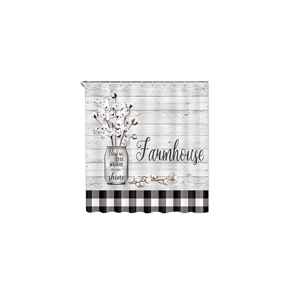 Farmhouse Floral Flower Fabric Shower Curtain, Cotton Flower on Rustic Plaid Country Shower Curtain Bathroom Decor with…