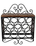 Craft Art India Wooden Wrought Iron Wall Mounting Hanging/Wine Bottle Rack {CAI-HD-0409/Size(Inch) : 20x7x17}