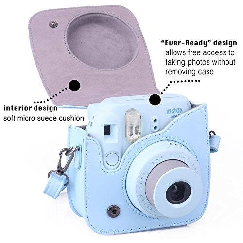 [Fujifilm Instax Mini 8 Case] - CAIUL Comprehensive Protection Instax Mini 8 Camera Case Bag With Soft PU Leather Material ( Blue )