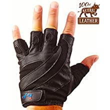 Leather Fingerless Gloves with Heavy Duty Protection for Weight Lifting, Crossfit, Gym Workout and Fitness
