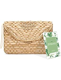 792fb92a9fa Straw Clutch Purse, JOSEKO Women Wristlet Clutch Handbag Envelope Bag Large  Wallet Summer Beach Bag