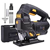Jigsaw, TECCPO 6.5 Amp 3000SPM Jig Saw with Laser Guide, 6pcs Blades, Carrying Case, 78.74 Inches Cord Length, Scale Ruler,Pure Copper Motor, Variable Speed Dial (1-6) - TAJS01P