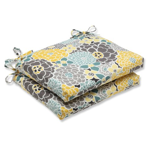 Pillow Perfect Outdoor Full Bloom Squared Corners Seat Cushion, Set of 2