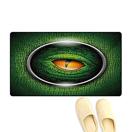 Doormat,Vibrant Realistic Eye of Reptile Animal Natural Wildlife Scales Crocodile Look,Bath Mat 3D Digital Printing Mat,Green Orange Grey,20