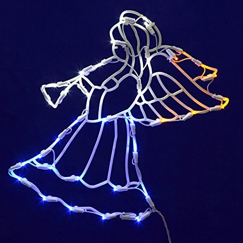 Vickerman Lighted LED Angel with Horn Christmas Window Silhouette Decoration, 17