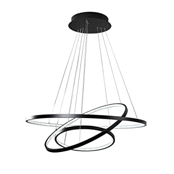 Modern LED Pendelleuchte 3 Ring Schwarz Rund Ring Design Hängeleuchte Acryl  Kronleuchter Metall Esstischlampe Beleuchtung Restaurant
