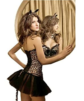 881bfa9772 Adult Womens Leopard Print Corset Tutu Skirt Tail Ears Fancy Dress Costume  Size 14 16