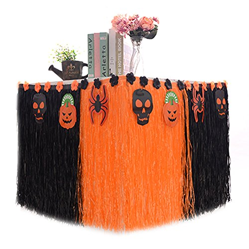 Halloween Table Skirt Hawaiian Luau Hibiscus, Artificial Grass Table Skirt-- plastic 9ft Long Party Decoration Black Orange BROSHAN (Halloween (Table Halloween Ideas)