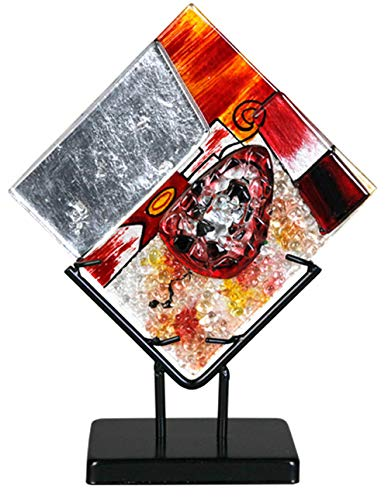 (Jasmine Art Glass 8-71135 Fused Square Sculpture)