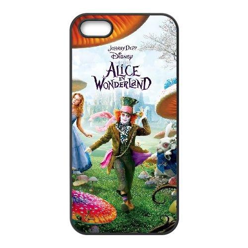 W7B25 Alice in Wonderland X8F8EL coque iPhone 5 5s cellule de cas de téléphone couvercle coque noire SF3IXN4IJ