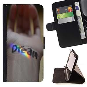 Momo Phone Case / Flip Funda de Cuero Case Cover - Sue?o Mensaje Mano Rainbow Spectrum - Samsung Galaxy S5 V SM-G900