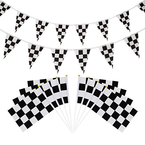 30ft Racing Pennant Banners and 30 Pieces Checkered Stick Flag Black&White for Race Car Theme Party Sport Events and Kids Birthday Decoration