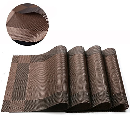 BlanceEG Table Placemats Set of 4, Non-Slip Washable Heat Resistant Brown Table Mats Dining Table Kitchen Table 12×18 inch (Brown, 4 Pack)