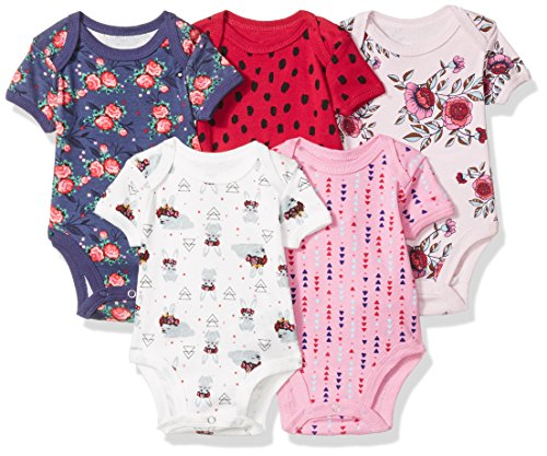 Rosie Pope Baby Girls 5 Pack Bodysuits (More Colors Available), Flowers, 3-6 Months (5 Pack Girl Bodysuit)