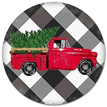 "Craig Bachman 12"" Vintage Truck on Black White Plaid Tin Metal Christmas Red Farm Truck Wreath Accent Sign MD0445"