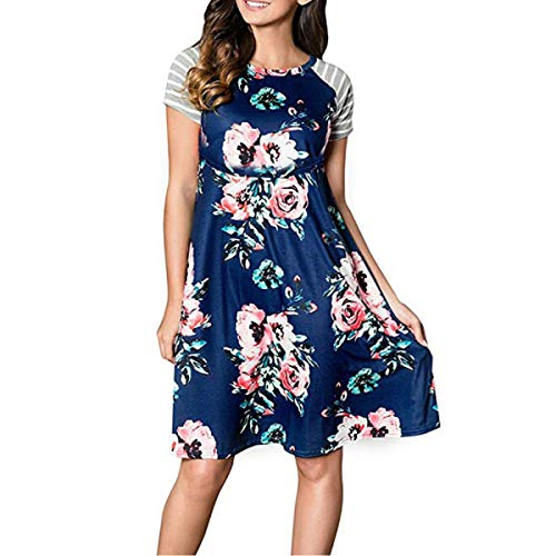 YUNAR Ladies Tie Front Short Sleeve Nursing Maternity Dress (Blue Floral, S)