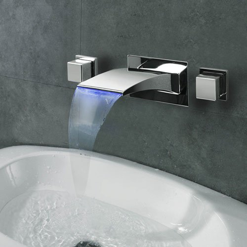 Lightinthebox Contemporary Wall Mounted LED/Waterfall with Ceramic Valve Two Handles Three Holes for Chrome Bathroom Sink Faucet